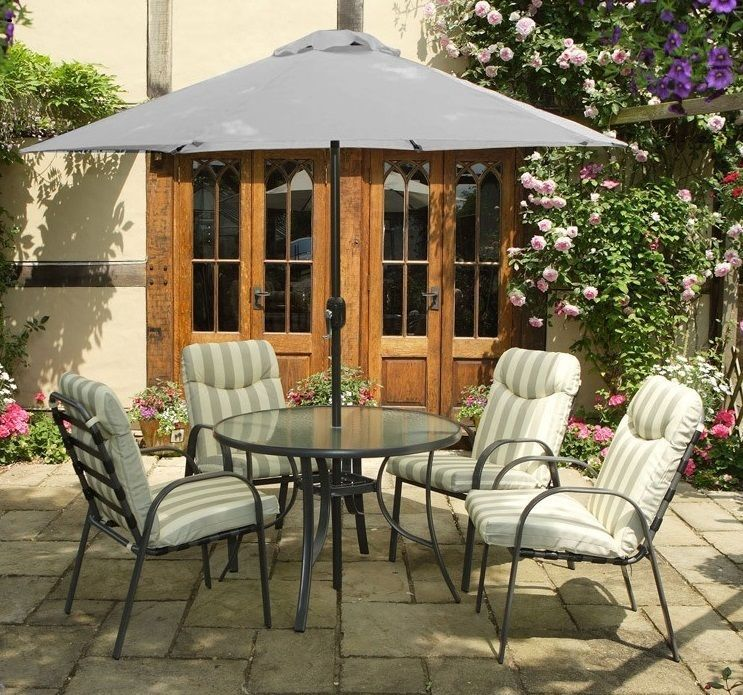 Garden Furniture Set Dining Steel Table Chairs 4 Seater Patio Parasol Glass Yard Garden Furniture Sets Patio Dining Table Patio