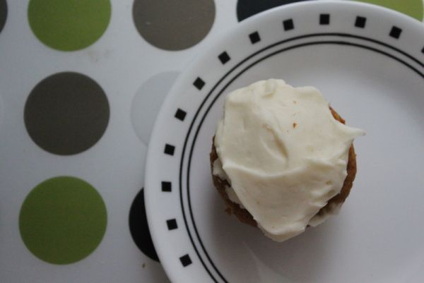pumpkin cupcakes with cream cheese frosting.
