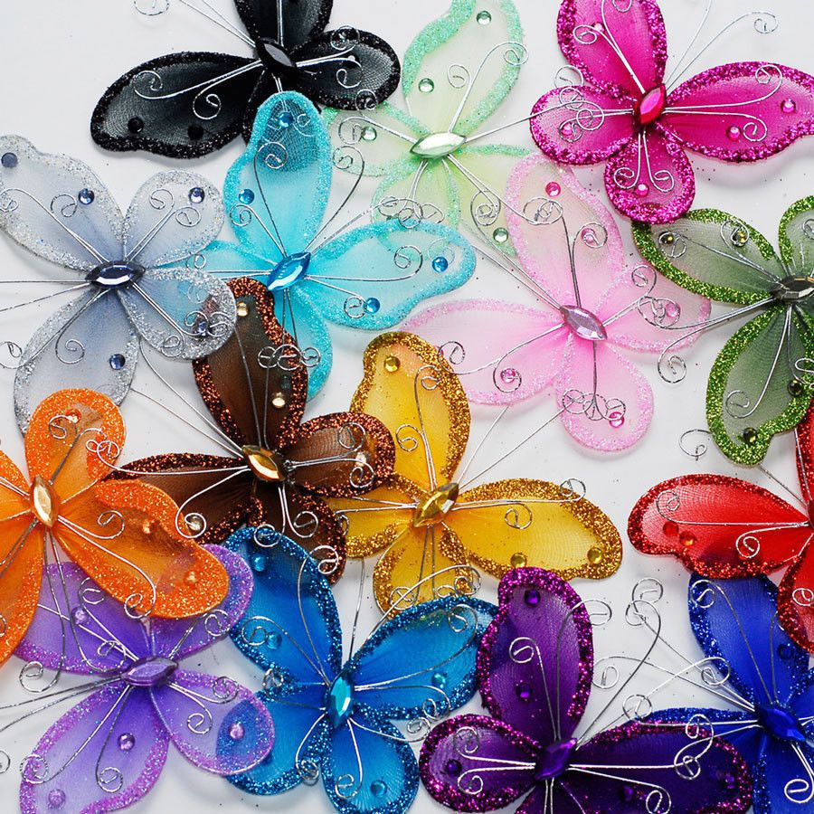 3 sheer nylon crystal wire butterfly w rhinestones party