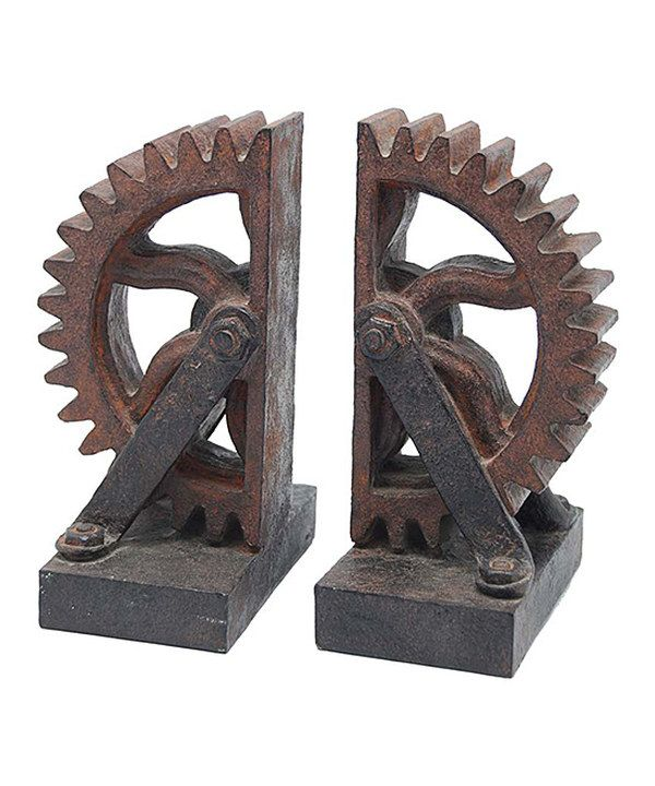Look at this Rust Paul Wheel Gear Bookend - Set of Two on #zulily today!
