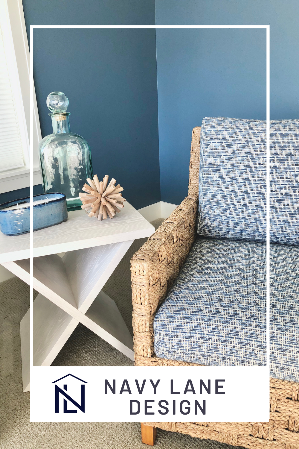 Blues, whites and woven textures make any sunroom feel like its on a lake! (This home was on Lake Macatawa in Holland, MI.) Lake house decor in a classy way for this client! #Lakehouse #nauticaldecor #sunroom #sunroomideas #bluepaint #navyandwhitedecor