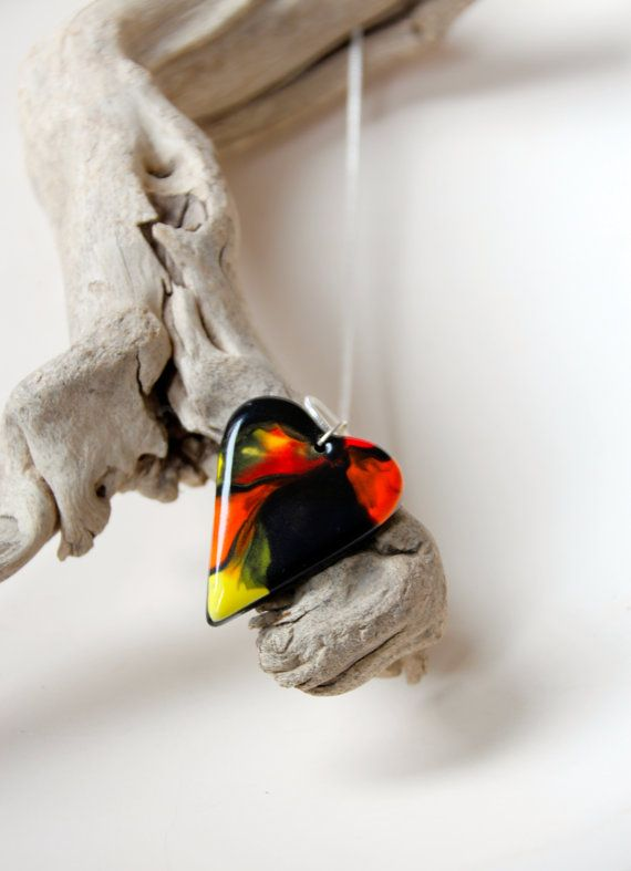 Marbled Heart Pendant Orange Red Black Yellow by SilverburnStudios, €21.00