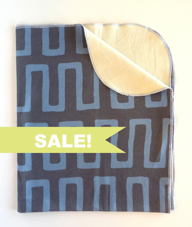 SALE ORGANIC Baby Boy Navy Blue Modern Geometric Jersey Swaddle blanket
