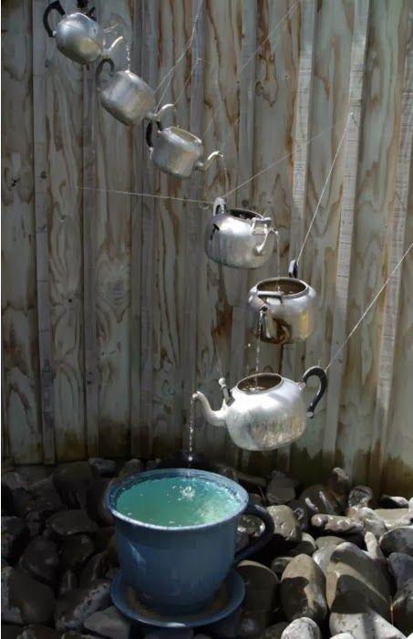 FUENTES para JARDÍN hechas con TETERAS - Curiosas IDEAS Jardineria