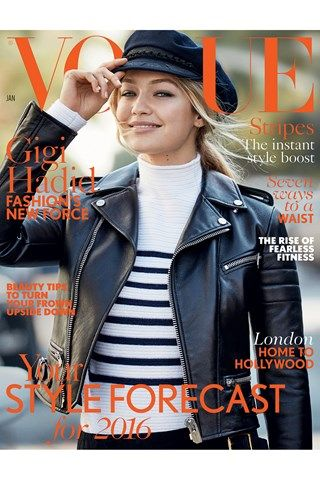 GIGI HADID is British Vogue's January cover star. Making her debut for the magazine, Hadid wears a jumper by British high-street brand Topshop on the cover, along with a Bally leather jacket, while inside the issue she talks candidly about her meteoric rise - which many attribute to her success on social media.