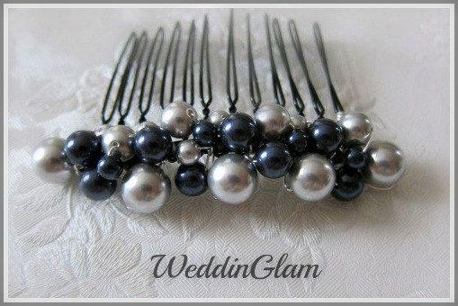 bridal hair comb wedding hair accessories navy blue by weddinglam 22 50