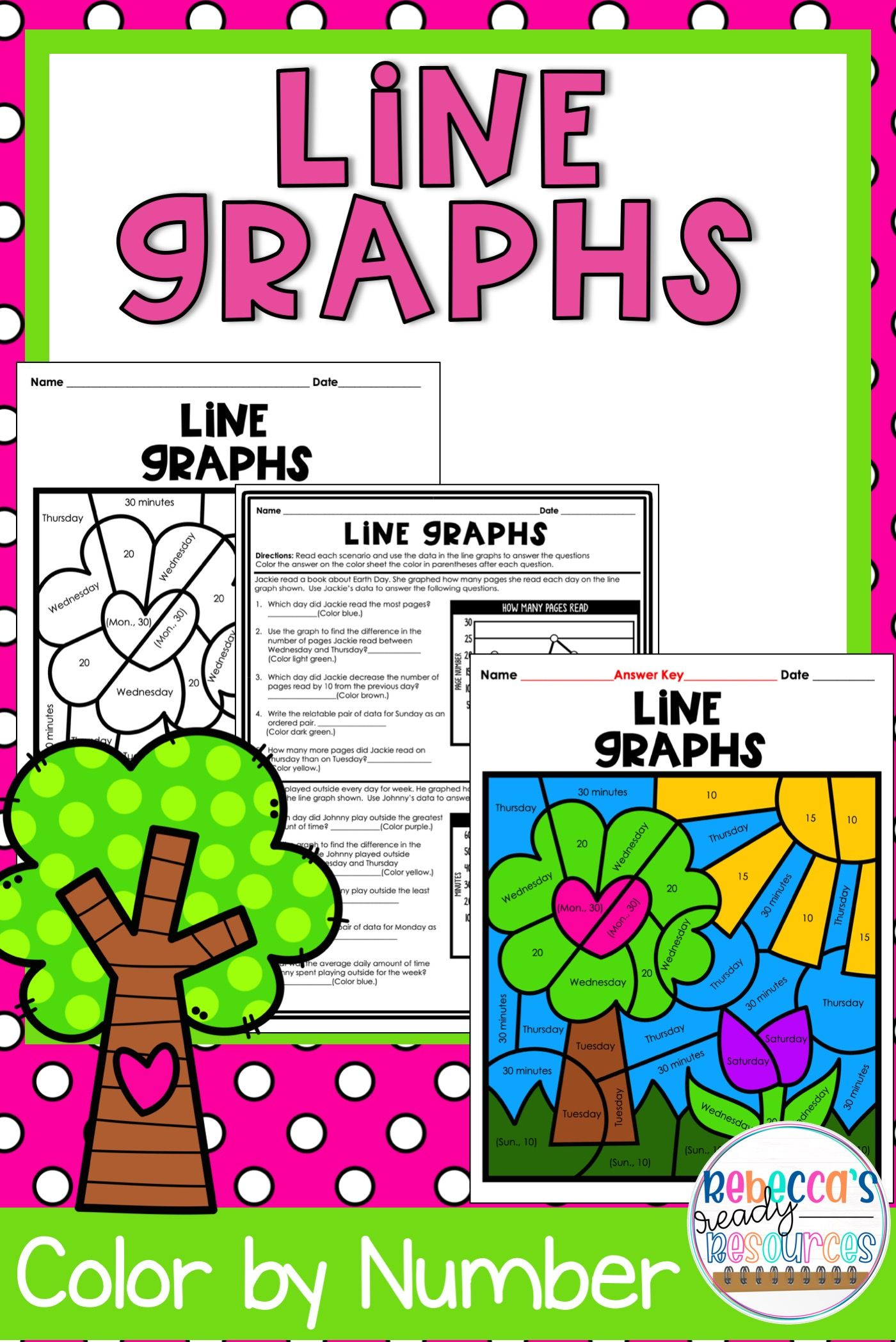 Line Graphs Color By Number Earth Day Theme Distance