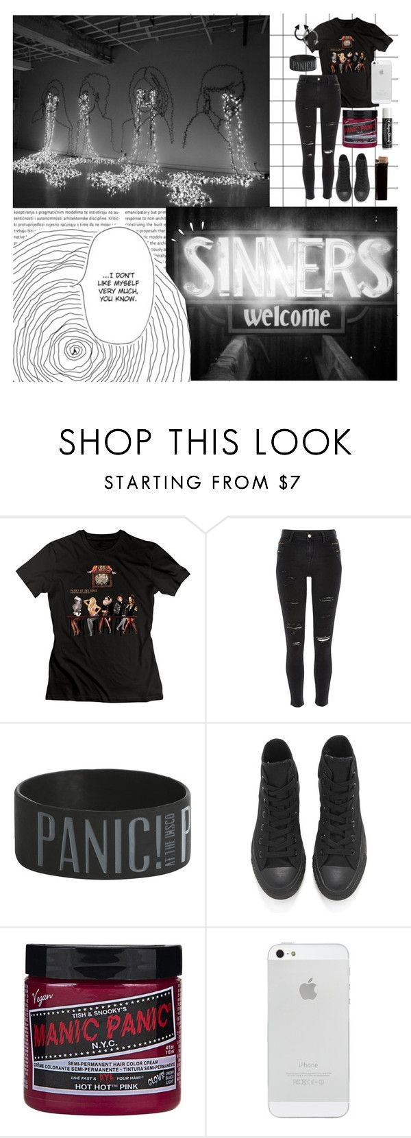 """""""//this was no accident//"""" by abigialtheturtle ❤ liked on Polyvore featuring River Island, Converse, Manic Panic NYC, Old Navy, Chapstick and panicatthedisco"""