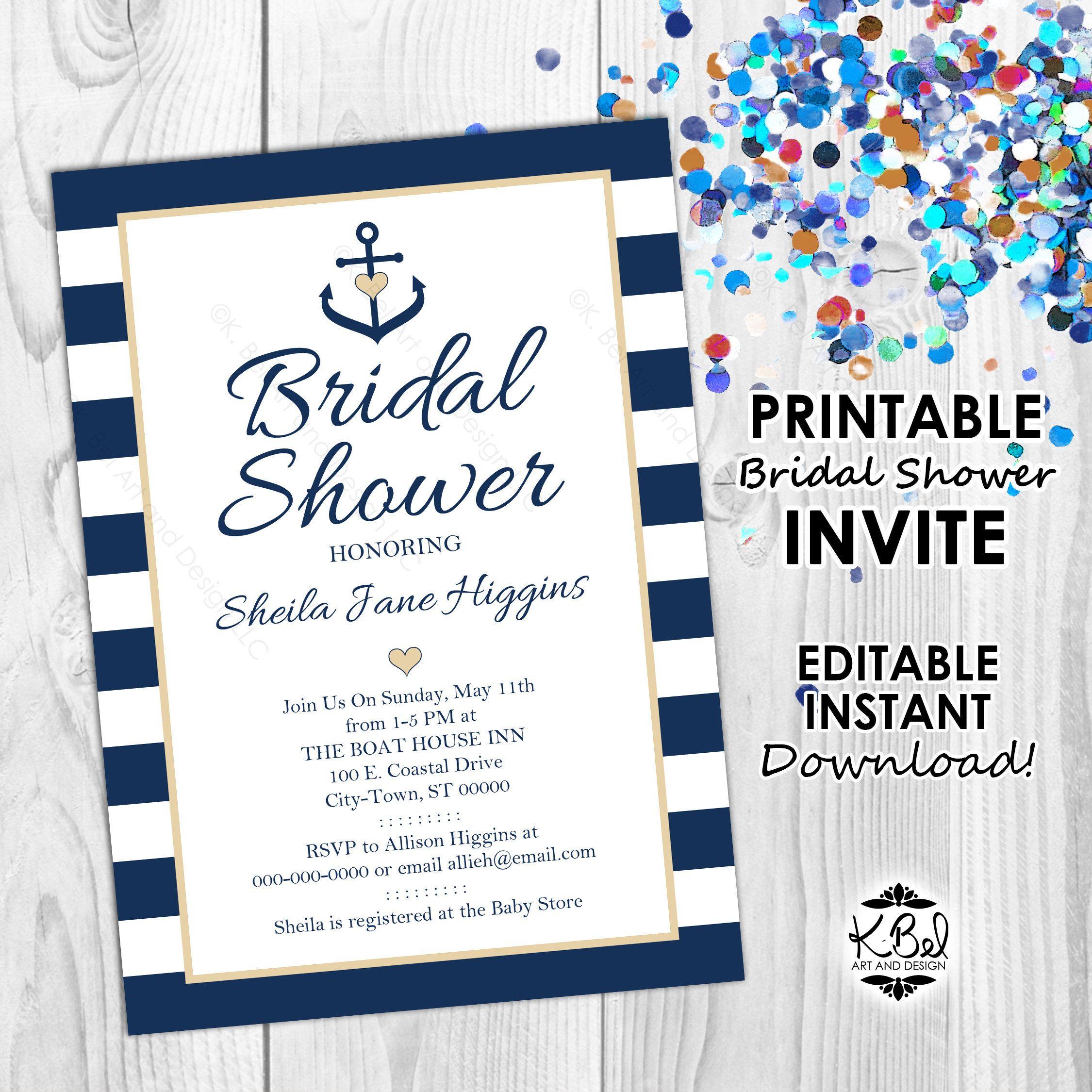 92746fb64d2c Printable Nautical Bridal Shower Invite - Editable Invitation - Nautical  themed Editable Invite - Anchor Invite - INSTANT DOWNLOAD - Digital by  KBelDigital ...