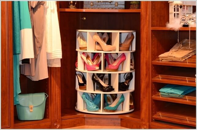 Put A Lazy Susan Shoe Case Inside Any Small Space Available In Your Closet