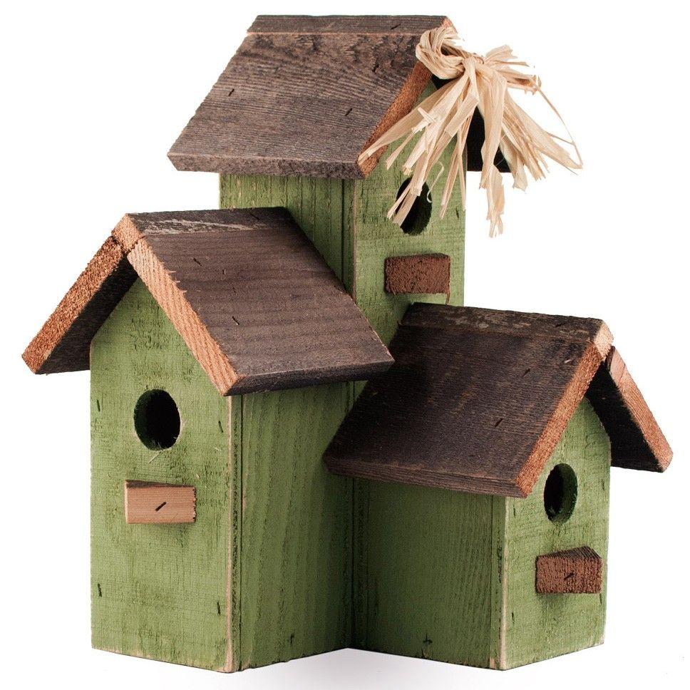 Reclaimed Wood Green Birdhouse Condo Bird houses, Bird