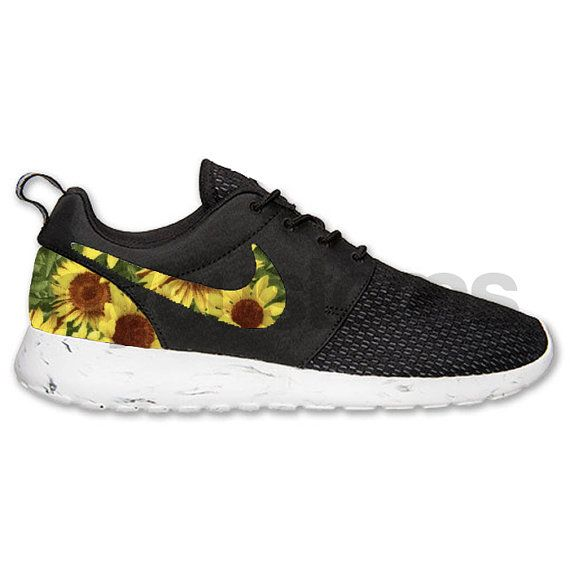 a383f8802ef5e Nike Roshe Run Black White Marble Sunflower Floral V2 Custom ...