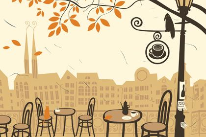 Cafe Scene Autumn Landscape Tropical Wall Art Retro Wallpaper