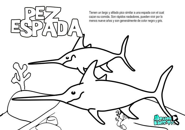 El pez espada, dibujos para colorear de peces educativos para niños ...
