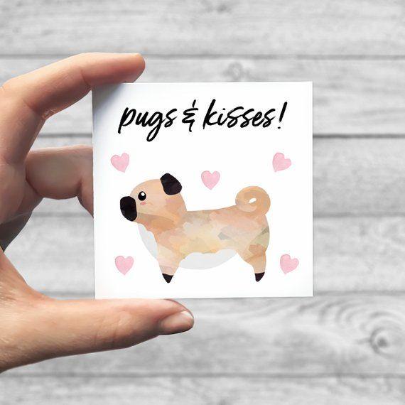 Personalized Mini Card Pugs And Kisses Pug I Woof You Custom Pug