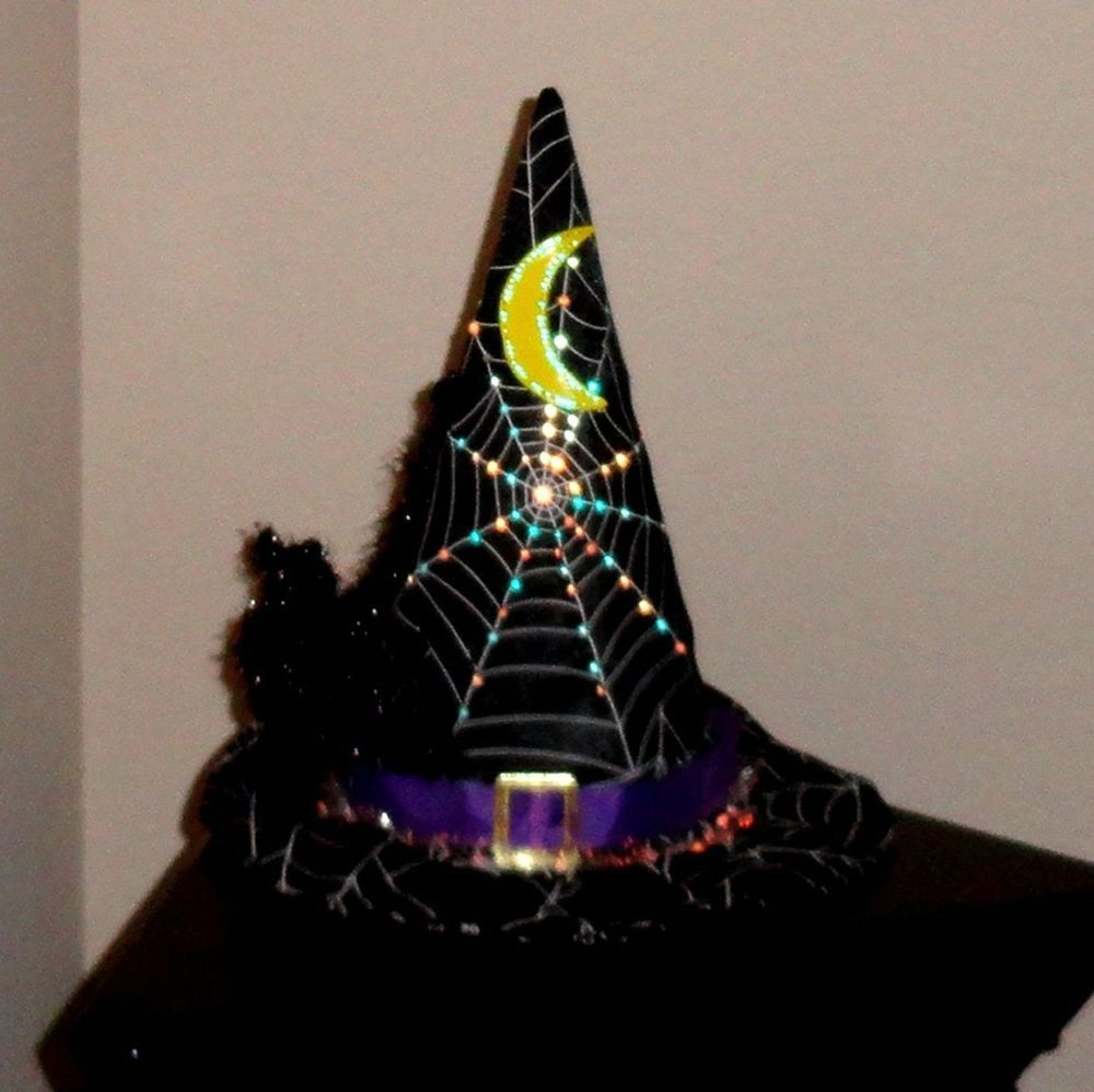 Color Changing Light Up Fiberoptic Witch Hat Black Spider Halloween Halloween Witch Decorations Office Halloween Decorations Homemade Halloween Decorations