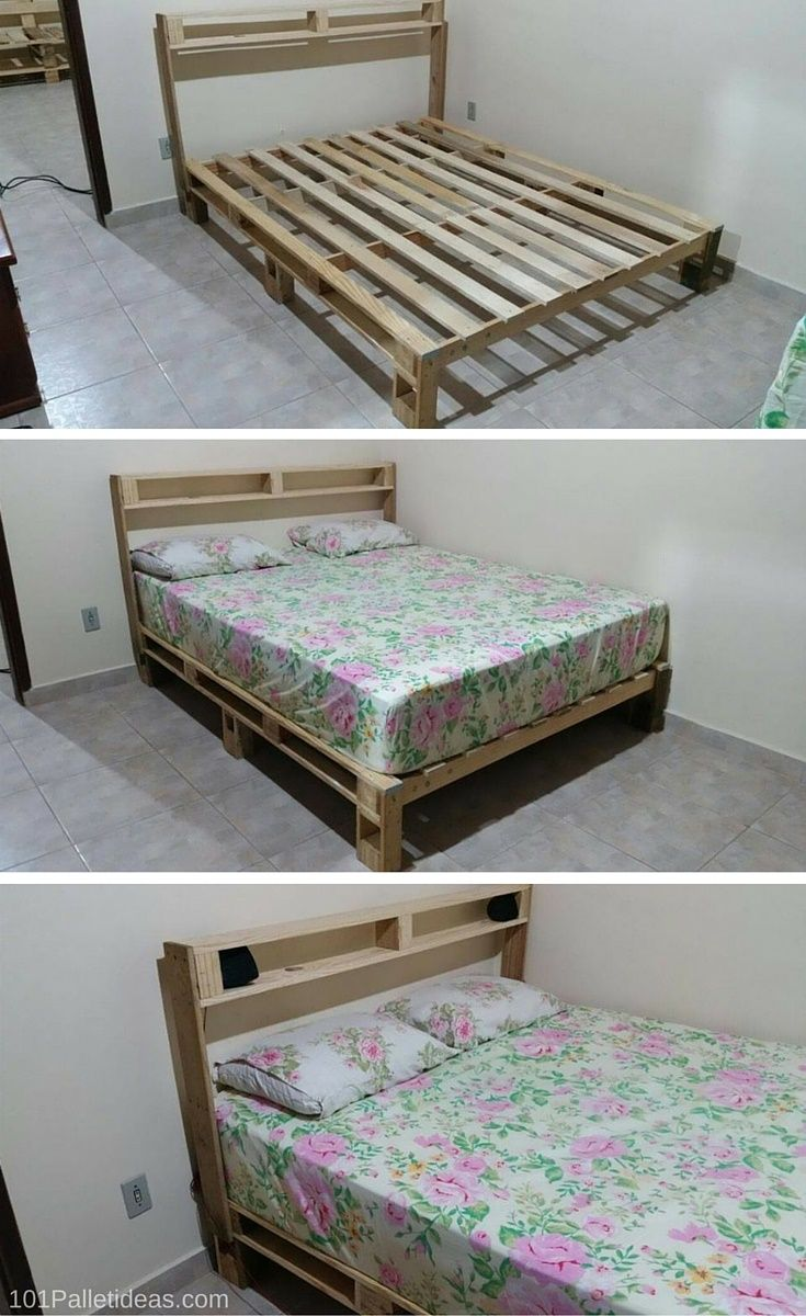 Bed Frame out of Pallets - 100% handmade with #pallets - 101 Pallet ...
