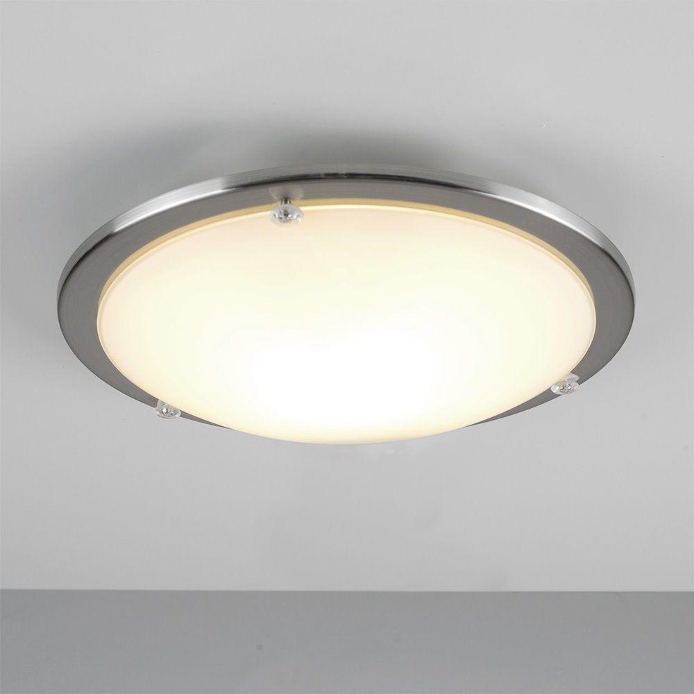 Modern Chrome Glass Round Flush Dome Bathroom Ceiling Light Enchanting Bathroom Ceiling Light Inspiration Design