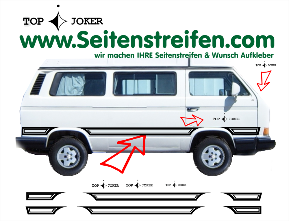 vw t3 joker top seitenstreifen aufkleber dekor set art. Black Bedroom Furniture Sets. Home Design Ideas
