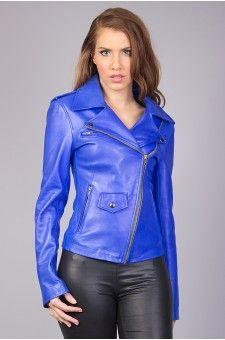 Blouson femme en cuir bleu