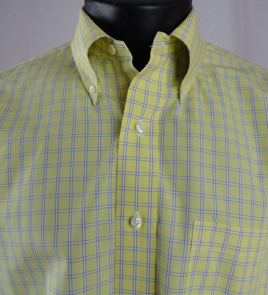 Yellow dress shirt men  Sharp Brooks Brothers  Mens   Dress Shirt Yellow Blue