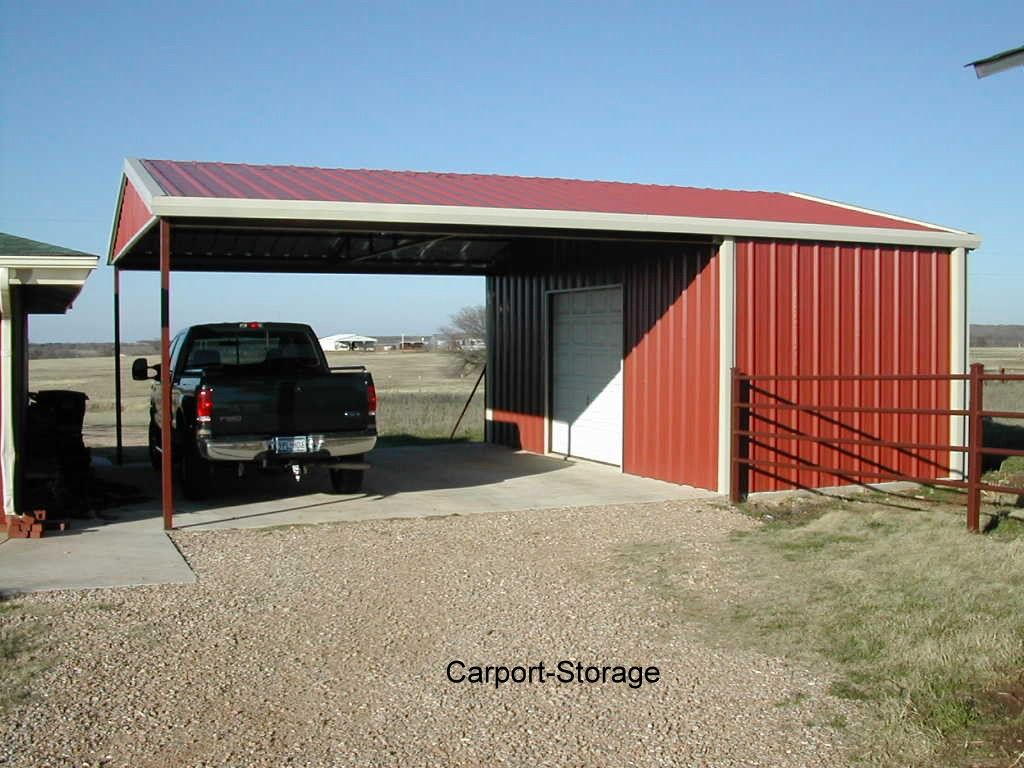 Storage shed with carport quality metal buildings for Carport garage plans