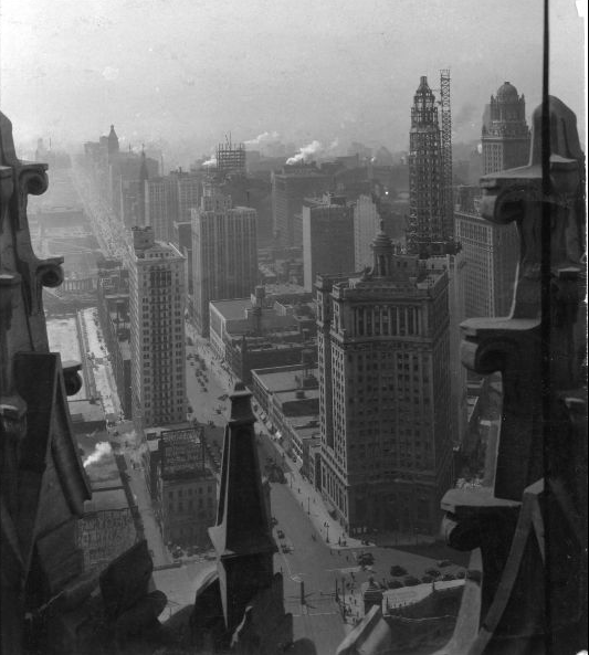 Looking south along Michigan Ave from the Tribune Tower, 1927, Chicago.