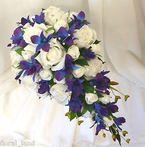 Silk Wedding Bouquet Latex Blue Purple Orchid Teardrop Cream Roses Diamante