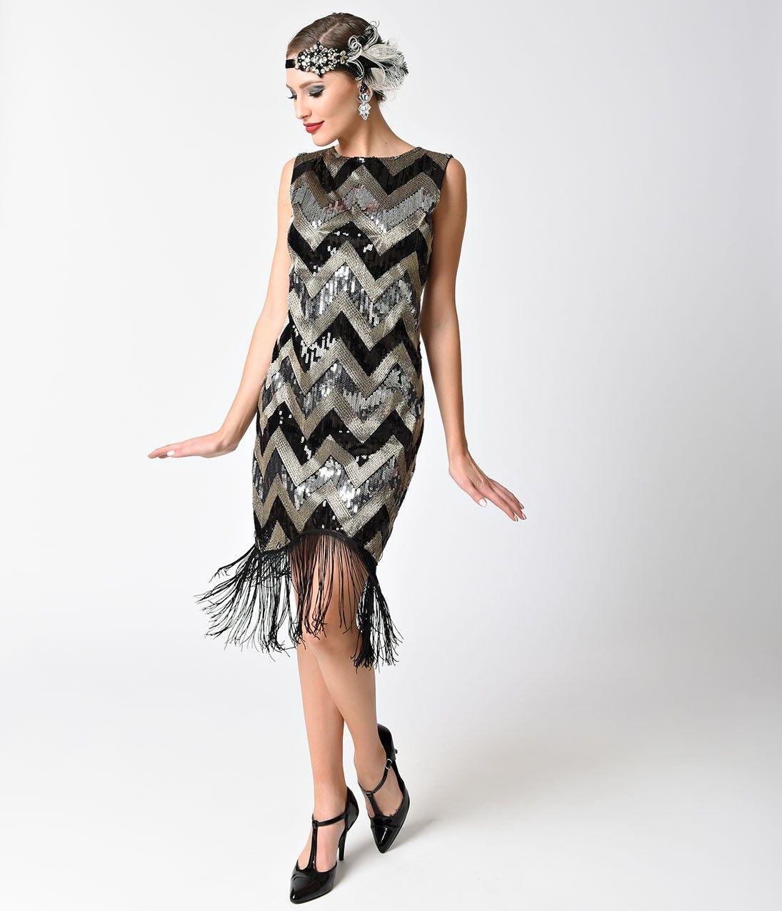 1920s Style Black & Silver Sequin Chevron Sleeveless Fringe Flapper ...
