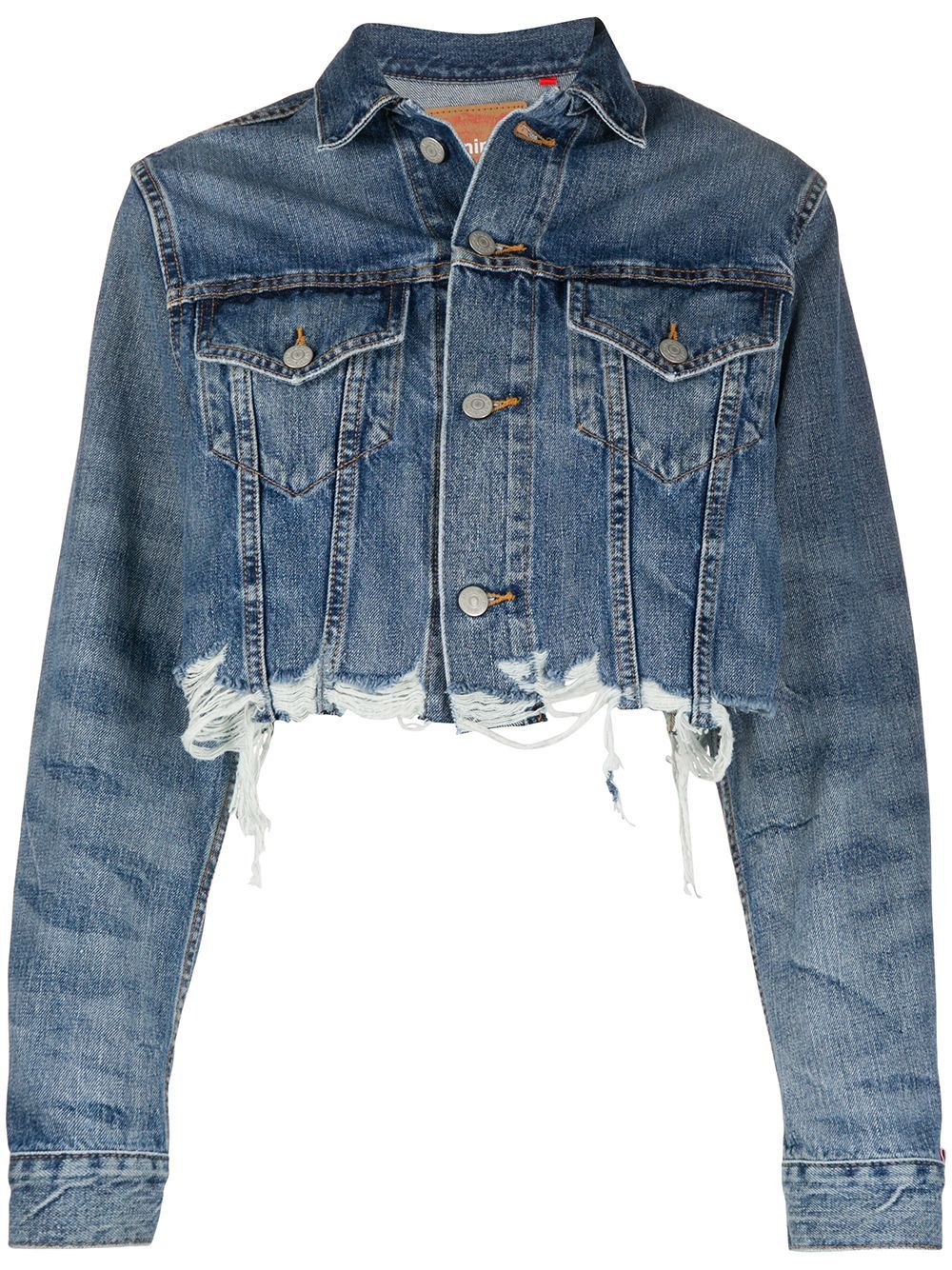 Blue denim cropped distressed effect jacket from Denimist featuring frayed edges, distressed effects, a cropped length, a classic collar, long sleeves, button cuffs, two front pockets and a button fastening.