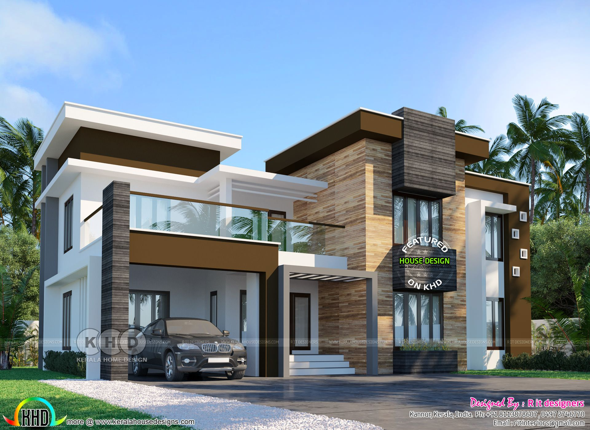 5 Bedroom Modern Luxury Residence Design Kerala House Design Beautiful House Plans Duplex House Design