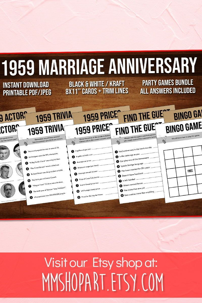 60th Anniversary Party Games Bundle Married In 1959 60th Wedding Anniversary Games Bundle In 2020 60th Anniversary Parties Anniversary Games Anniversary Party Games