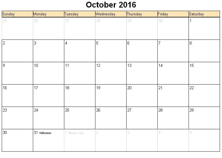 October  Calendar Free Printable   Oct Calendar