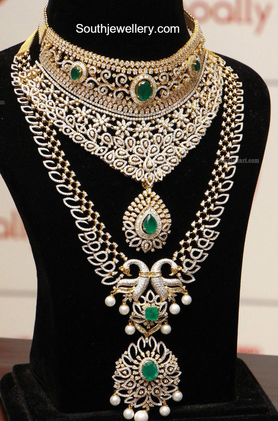diamond emerald choker and haram set traditional. Black Bedroom Furniture Sets. Home Design Ideas
