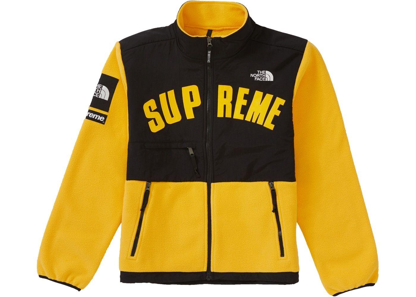 Supreme The North Face Arc Logo Denali Fleece Jacket Yellow In 2021 Fleece Jacket North Face Fleece Jacket Jackets [ 1000 x 1400 Pixel ]