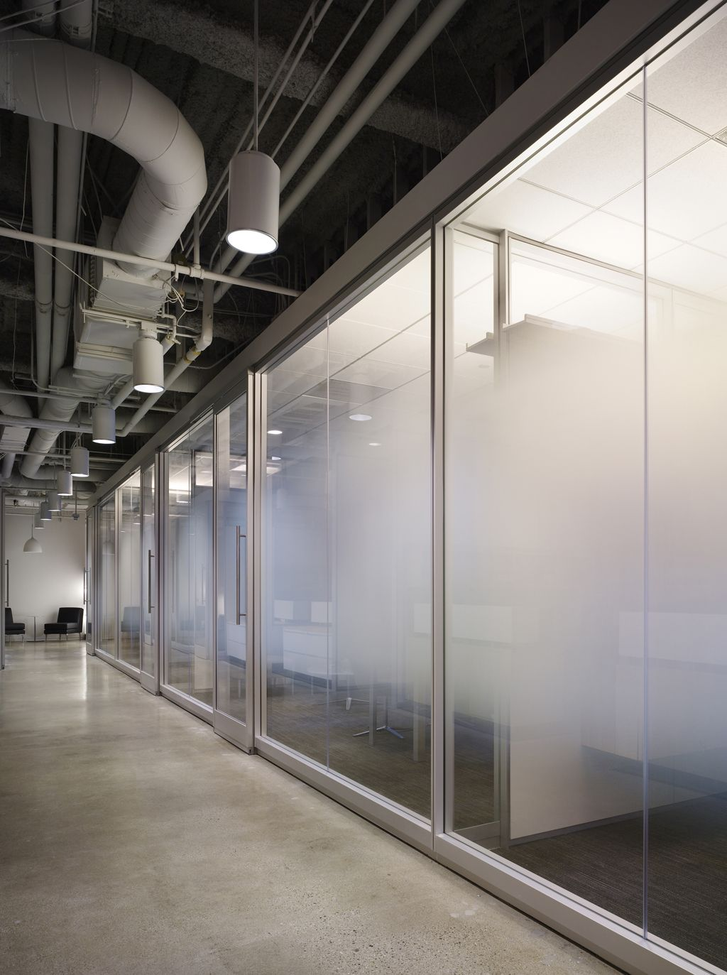 frosted glass provides privacy while allowing light to