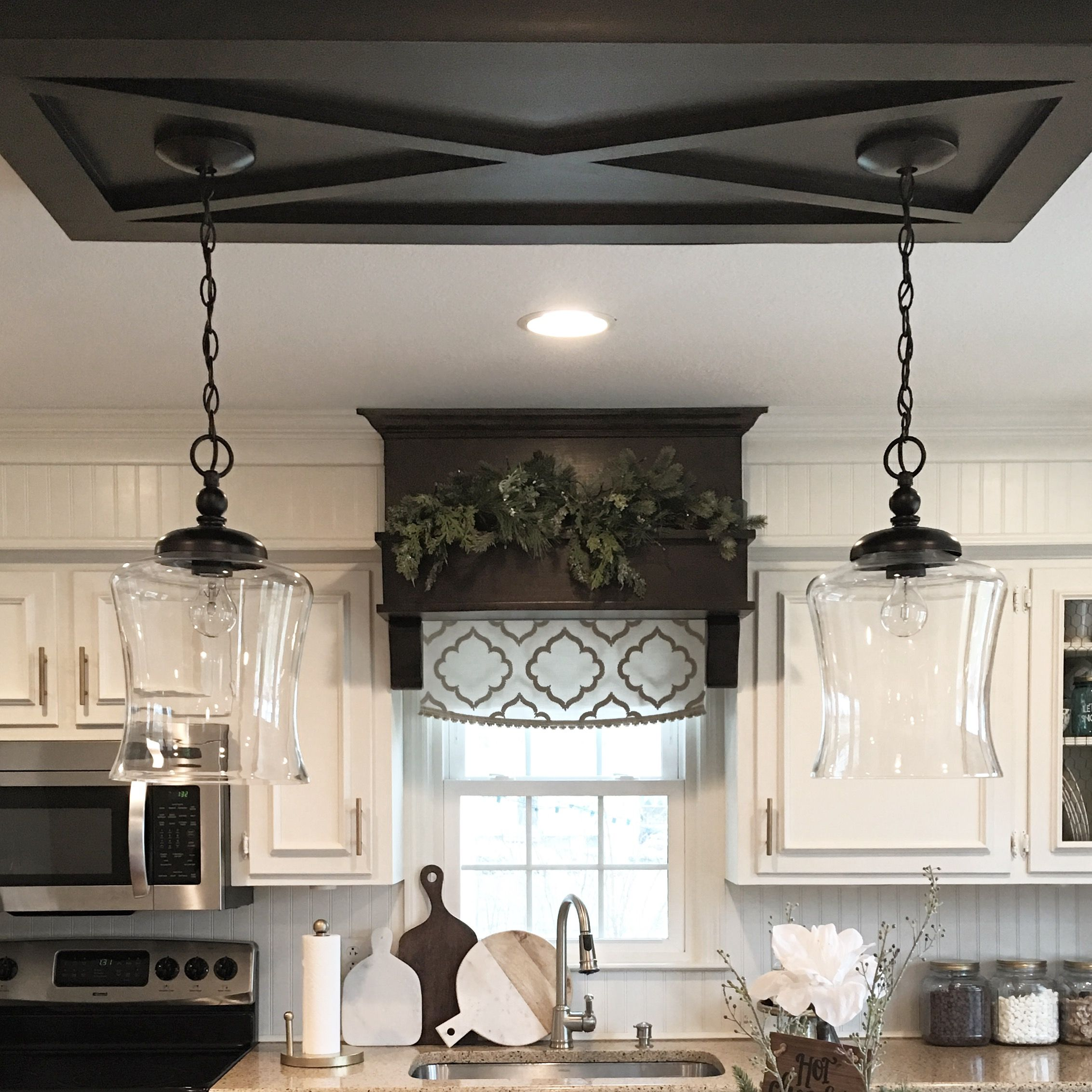 Modern Farmhouse Kitchen Island Lighting Love Our Custom Ceiling Trim That The Pendants Hang From Ceiling Trim Dinning Room Lighting House Trim