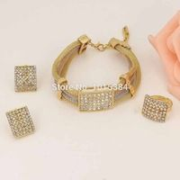 Free shipping African Gold Plated 3 Color Choke Jewelry Sets Bridal Crystal Necklace Ring Bracelet Earrings Accessories