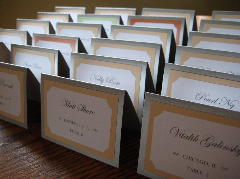 wedding ceremony wording samples%0A Tent Escort  Place Card in Custom Colors  Fonts  with Names  Tables for  Wedding Reception  Party and Guests  The Bistro Collection