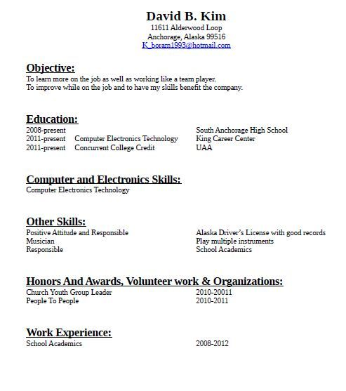 resume with no job experience