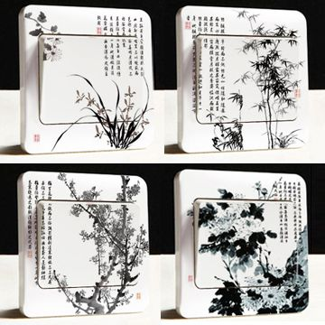 Free shipping wall stickers switch stickers socket paste switch decoration chinese style US $3.99