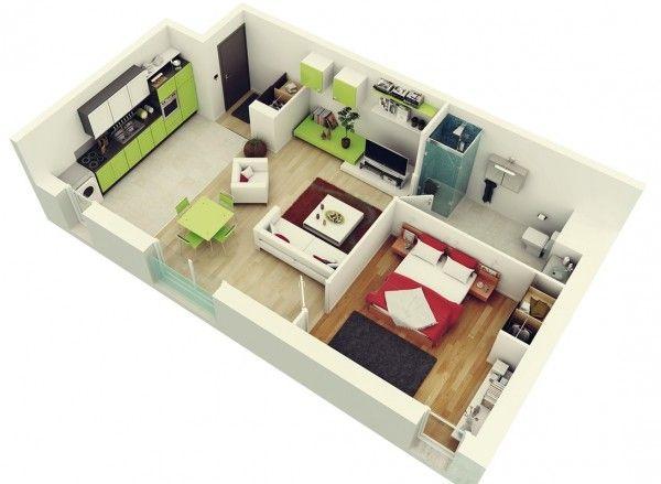 50 Plans en 3D d\u0027appartement avec 1 chambres Conversion home - Plan De Maison Gratuit
