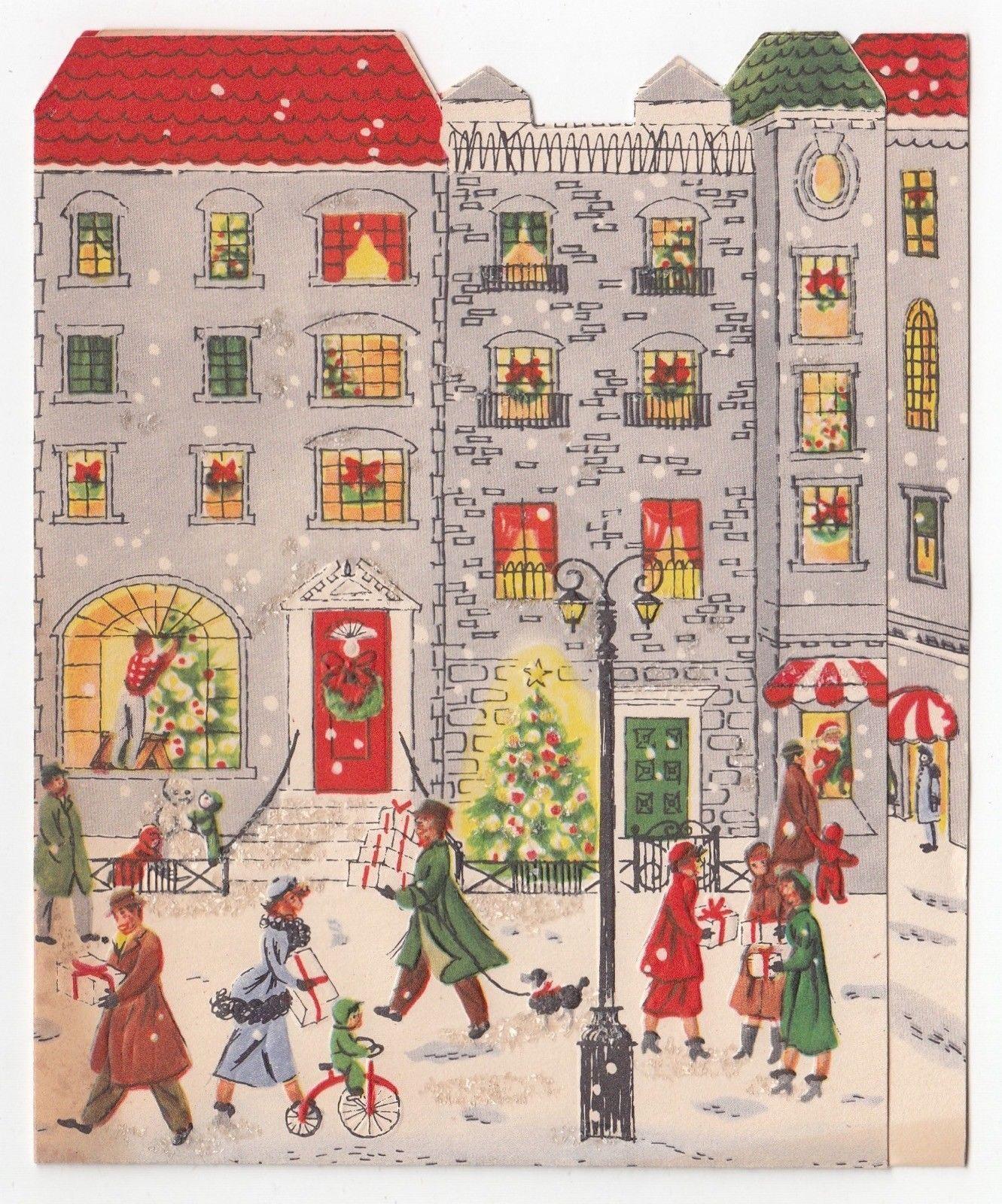 Vintage Greeting Card Christmas People City Street Buildings Mid