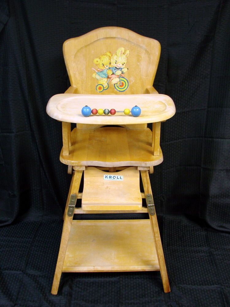 Vintage Collapsible Kroll Wood Childs High Chair Wooden Baby Chair 1950s - Vintage Collapsible Kroll Wood Childs High Chair Wooden Baby Chair