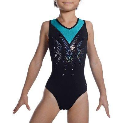 Justaucorps sans manches Gymnastique Féminine noir turquoise sequins ... f9fad079298