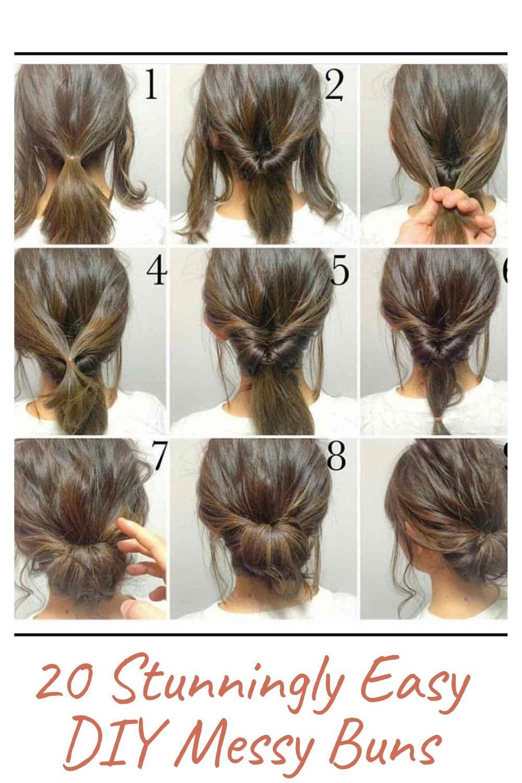 20 Stunningly Easy Diy Messy Buns Easy Hair Updos Hair Up Styles Medium Hair Styles