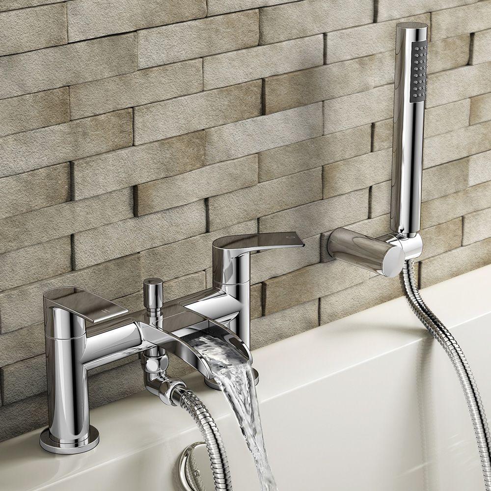 Avis Waterfall Bath Shower Mixer Tap with Hand Held Shower Head ...