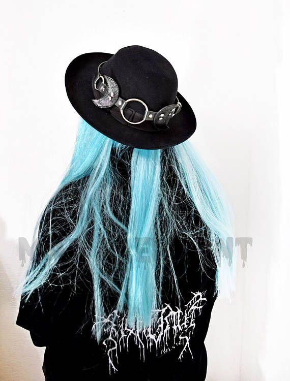 29068b592a3 Black genuine leather lunar hat band adjustable hat accessory ...