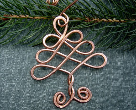 Celtic Tree Ornament Copper Ornament Christmas Tree Ornament Celtic Ornament Handmade Gift Tree Of Life Holiday Decoration Home Decor Wire Ornaments Celtic Ornaments Beads And Wire