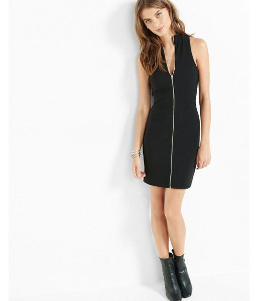 ded0bec2 Express Womens Black Mock Neck Zip Front Sheath Dress- date night, chic,  romantic, ankle boot, zipper, my style